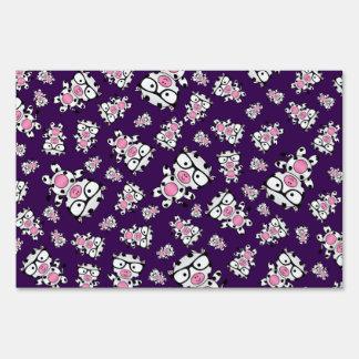 Purple nerd cow pattern lawn sign