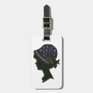 Purple Net Hat Cameo Luggage Tag