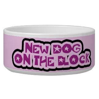 Purple New Dog on the Block Dog Dish