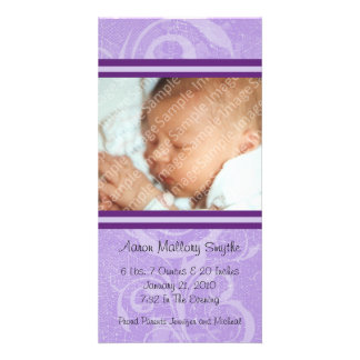 Purple New Style New Baby Photo Card