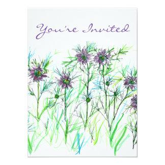 Purple Nigella Watercolor Flowers Bridal Shower Card