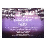 purple night & garden lights engagement party personalized announcement