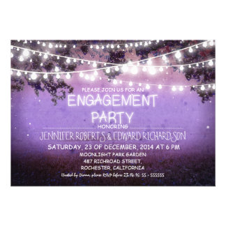 purple night garden lights engagement party personalized announcement