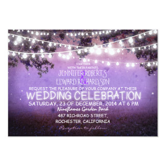 purple night & garden lights rustic wedding card