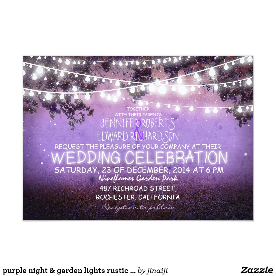 Purple Night and String Lights Wedding Invitation