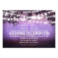 purple night & garden lights rustic wedding personalized announcements
