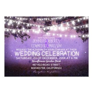 purple night garden lights rustic wedding personalized announcements