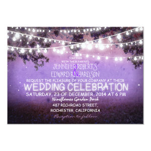 purple night & garden lights rustic wedding 5x7 paper invitation card