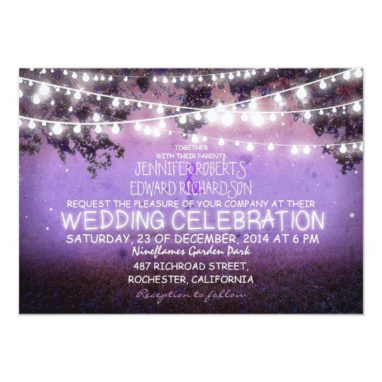 Purple Rustic Wedding Invitations: Purple Night & Garden Lights Rustic Wedding Invitation