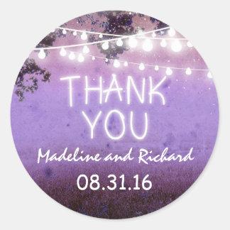 purple night lights thank you wedding stickers