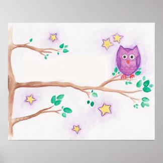 Purple Night Owl Watercolor Print