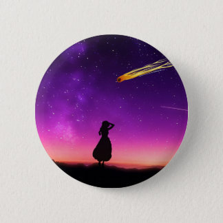 Purple Night Sky With Comet Crashing Toward Earth Pinback Button