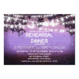 purple night & string lights rehearsal dinner card