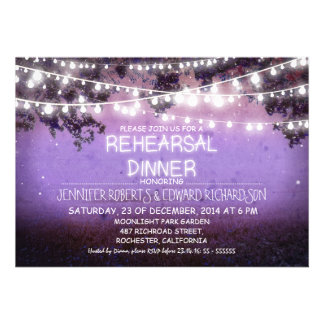 purple night string lights rehearsal dinner personalized announcement