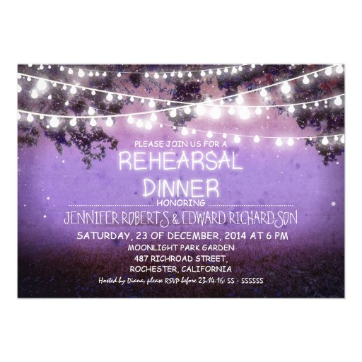 purple night & string lights rehearsal dinner personalized announcement