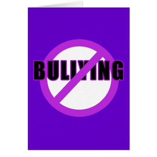 Purple NO BULLYING T-shirts and Buttons Card