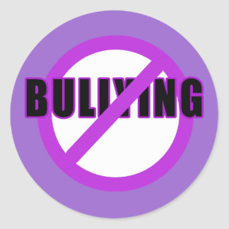Purple NO BULLYING T-shirts and Buttons Classic Round Sticker
