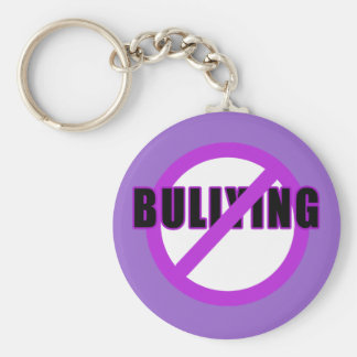 Purple NO BULLYING T-shirts and Buttons Basic Round Button Keychain