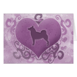Purple Norwegian Buhund Valentine Card