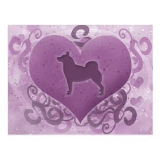 Purple Norwegian Buhund Valentine Postcard