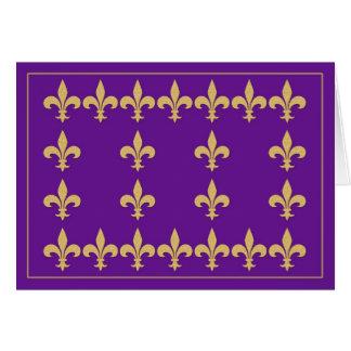 Purple Note Card with Gold Color Fleur-de-Lis