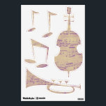"""Purple Notes Music Wall Decals<br><div class=""""desc"""">Brighten up your music room with these whimsical music wall decals. Fun music shapes are filled in with a purple sheet music pattern.</div>"""