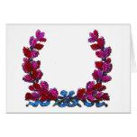 Purple oak leaf wreath with ribbon greeting card