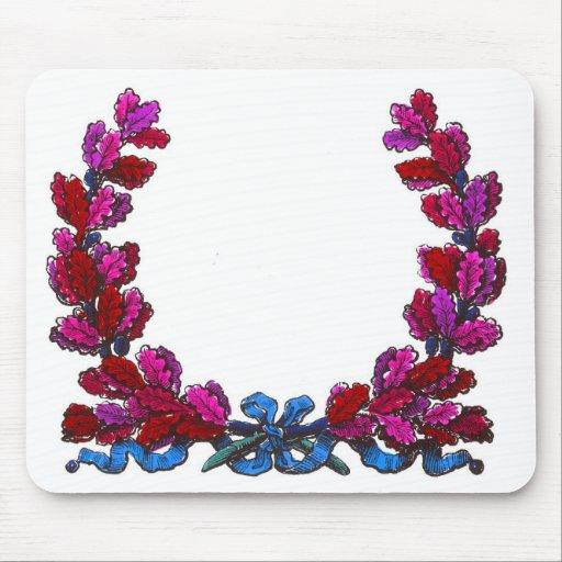 Purple oak leaf wreath with ribbon mouse pad