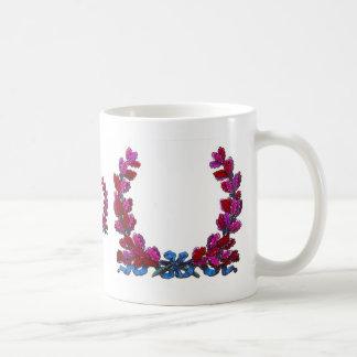 Purple oak leaf wreath with ribbon classic white coffee mug