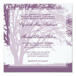 Purple Oak Tree Fall Wedding 5.25x5.25 Square Paper Invitation Card