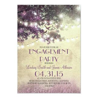 Purple oak tree lights love birds engagement party card