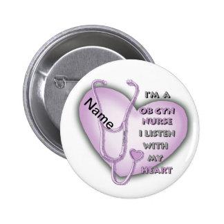Purple OB Gyn Nurse 2 Inch Round Button