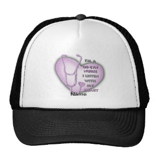 Purple OB Gyn Nurse Trucker Hat