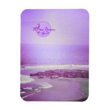 Beach Themed Purple Ocean and Sky 3X4 Inch Photo Magnet