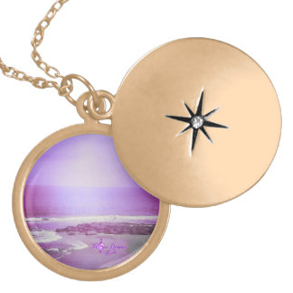 Purple Ocean and Sky Gold Finish Locket