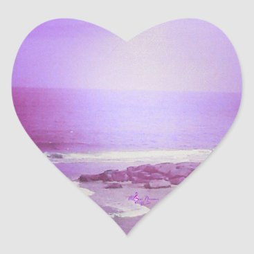 Beach Themed Purple Ocean and Sky Heart Stickers