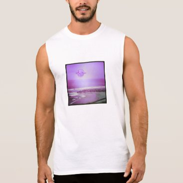 Beach Themed Purple Ocean and Sky Men's Sleeveless T-Shirt