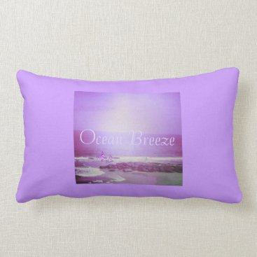Beach Themed Purple Ocean and Sky Ocean Breeze Lumbar Pillow