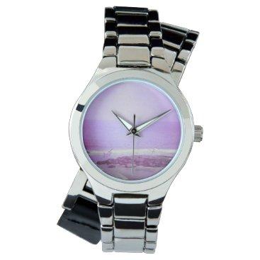 Beach Themed Purple Ocean & Sky Silver Wraparound Watch