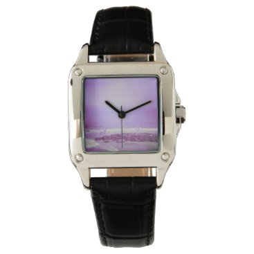 Beach Themed Purple Ocean & Sky Square Black Leather Watch