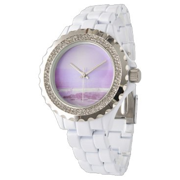 Beach Themed Purple Ocean & Sky White Rhinestone Watch