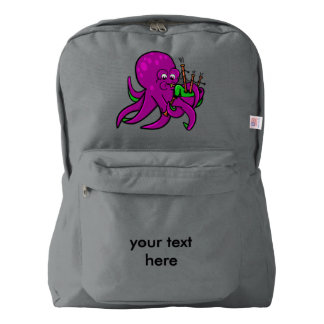 Purple Octopus Blowing on Some Green Bagpipes American Apparel™ Backpack