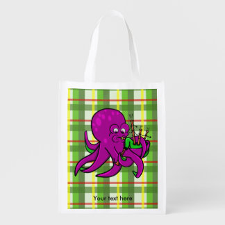 Purple Octopus Blowing on Some Green Bagpipes Reusable Grocery Bag