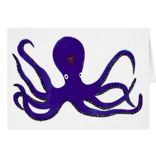 Purple Octopus Greeting Cards