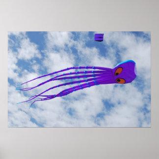 Purple Octopus Kite Print