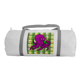 Purple Octopus Playing Green Bagpipes Duffle Bag
