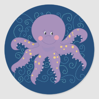 Purple Octopus T-shirts and Gifts Classic Round Sticker