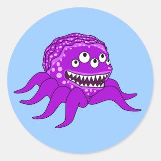 Purple Octopuss Monster Classic Round Sticker