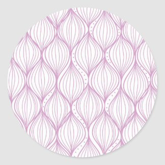 Purple ogee stripes pattern background classic round sticker