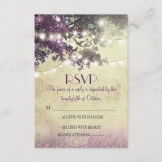 Purple old oak tree lights wedding RSVP cards